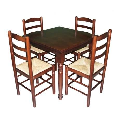 Conjunto mesa cuadrada y 4 sillas lisas