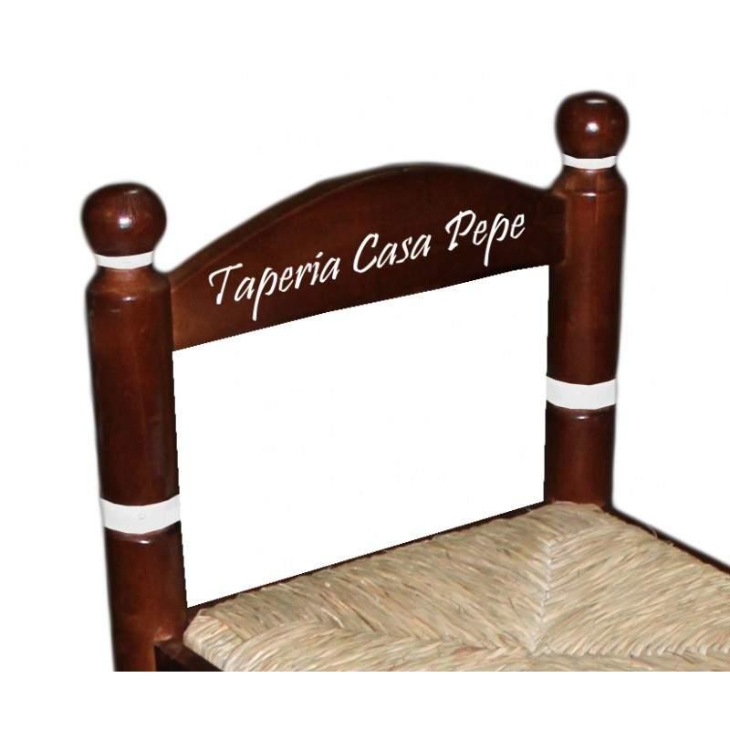 Taburete de enea y madera de bar con respaldo personalizable for Taburetes de bar de madera