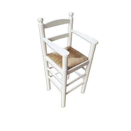 Cadeira alta para crianças em madeira e palha