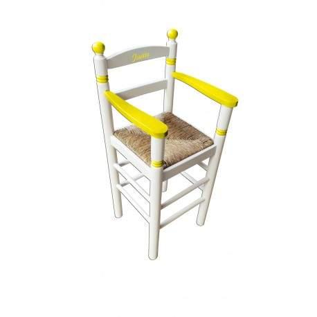 Cadeira alta para crianças em madeira e palha customizável