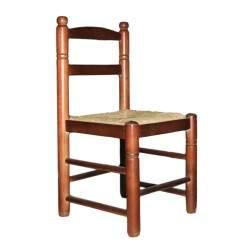 Cadeira infantil en madeira e palha