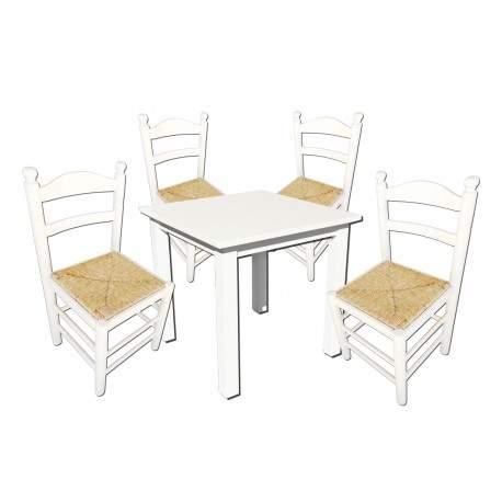 Conjunto mesa cuadrada y 4 sillas cocina