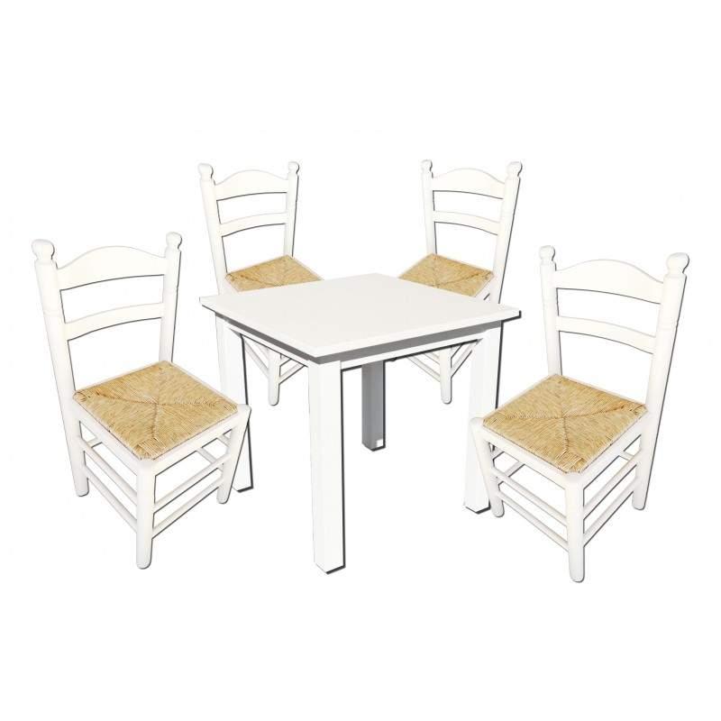 Conjunto de mesa de madera y 4 sillas for Oferta mesa y sillas