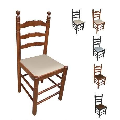 Cadeira madeira estofada Colonial