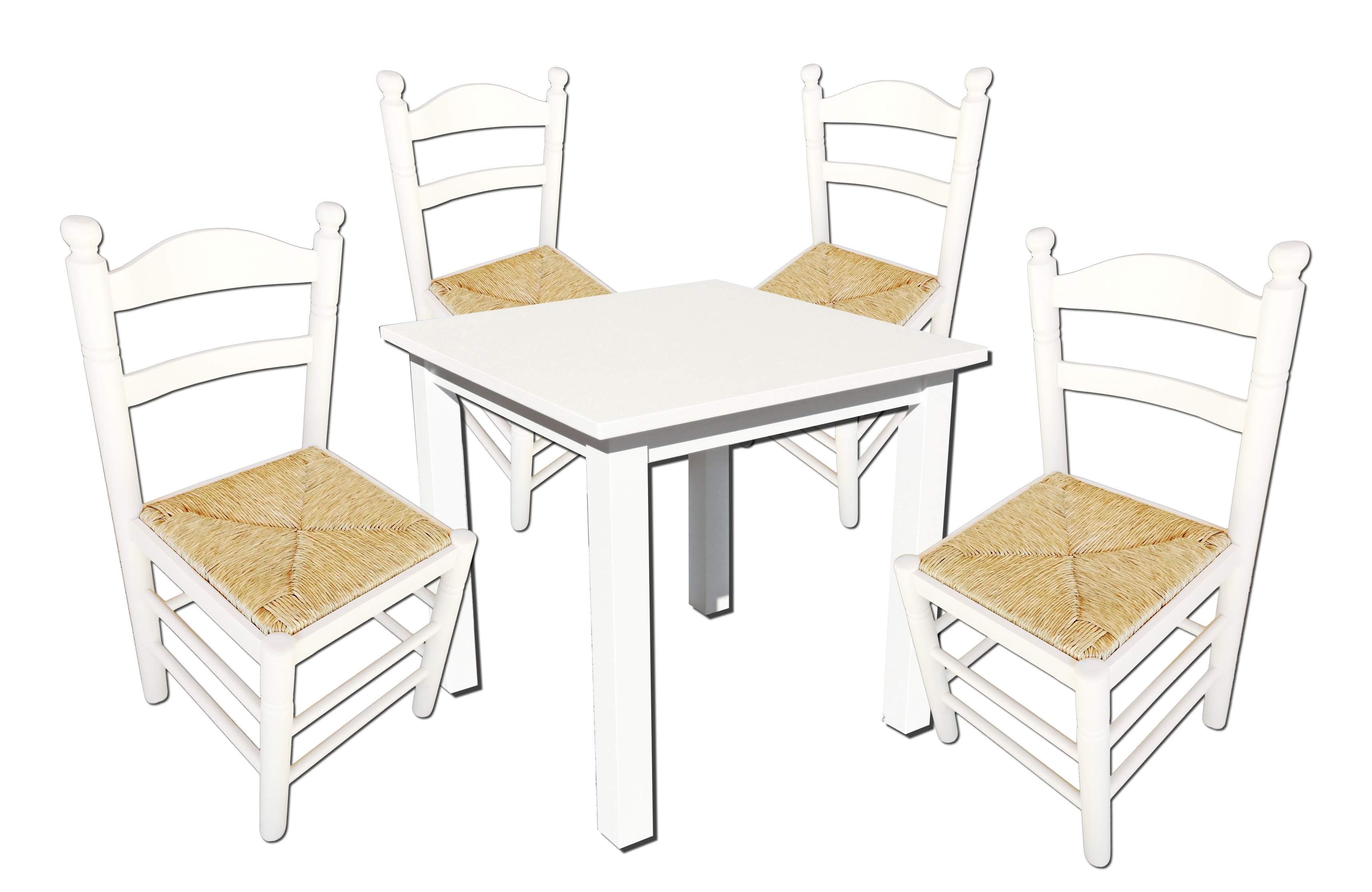Conjunto mesa y 4 sillas blancas